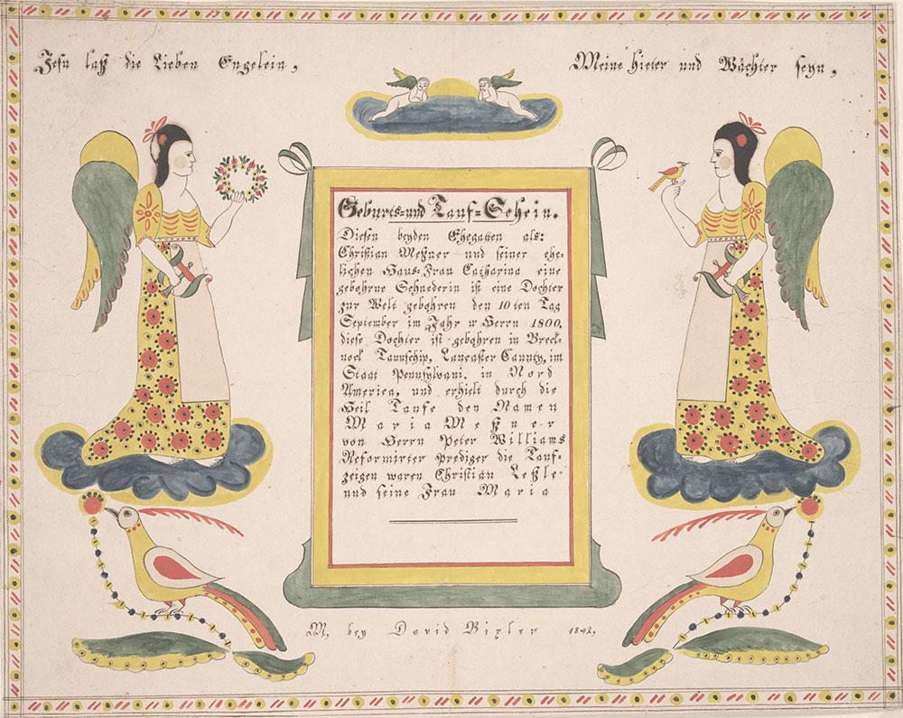 Birth and Baptismal Certificate (Geburts und Taufschein) for Maria Messner