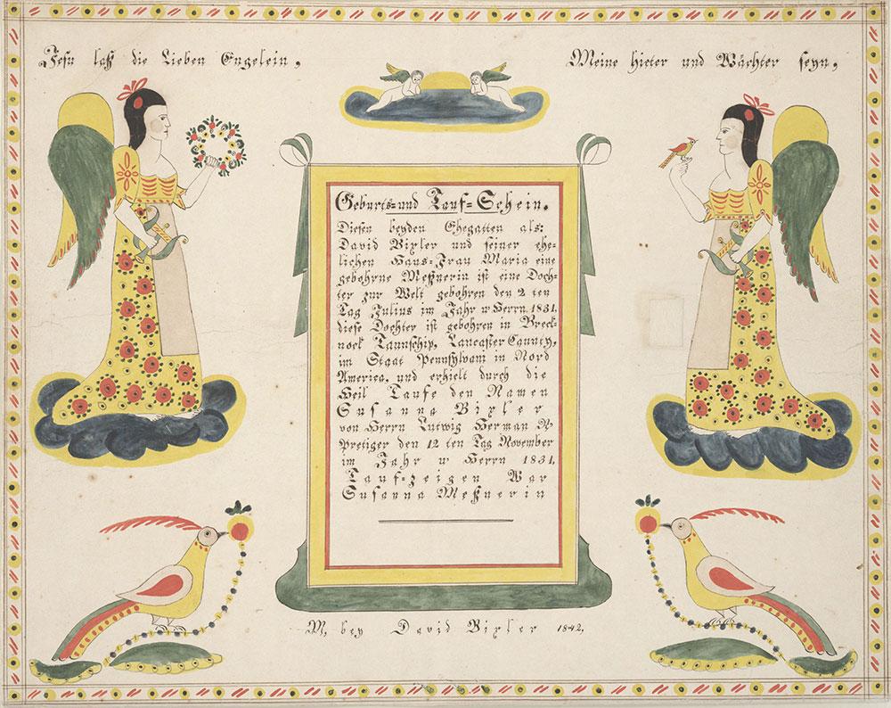 Birth and Baptismal Certificate (Geburts und Taufschein) for Susanna Bixler