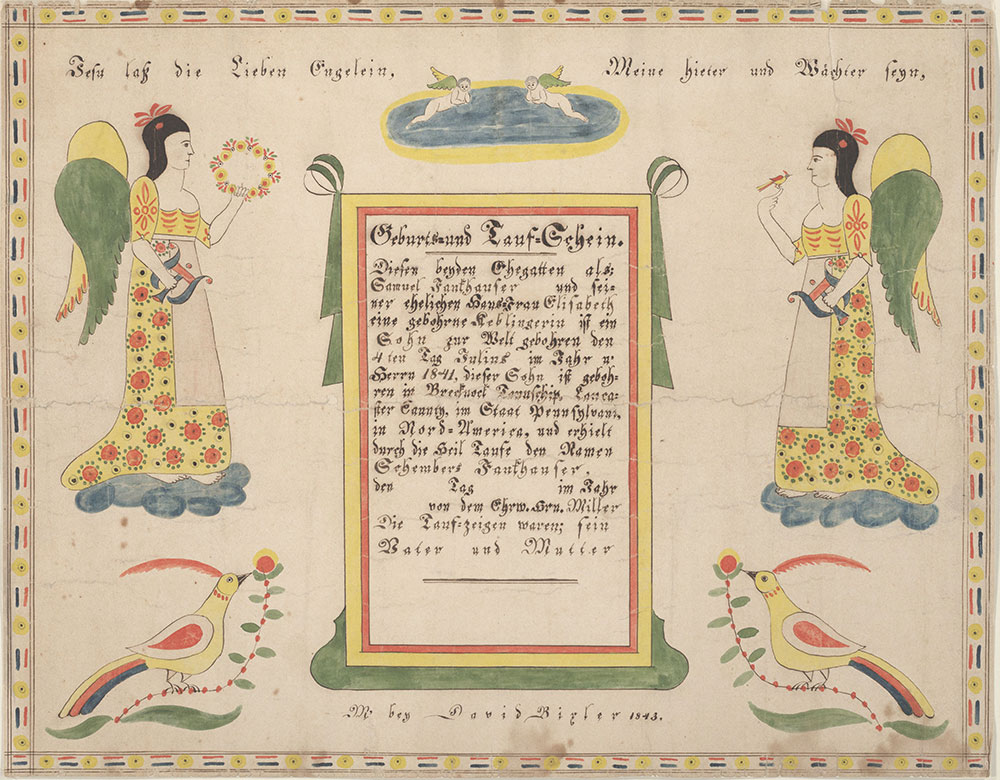 Birth and Baptismal Certificate (Geburts und Taufschein) for Schembers Fankhauser