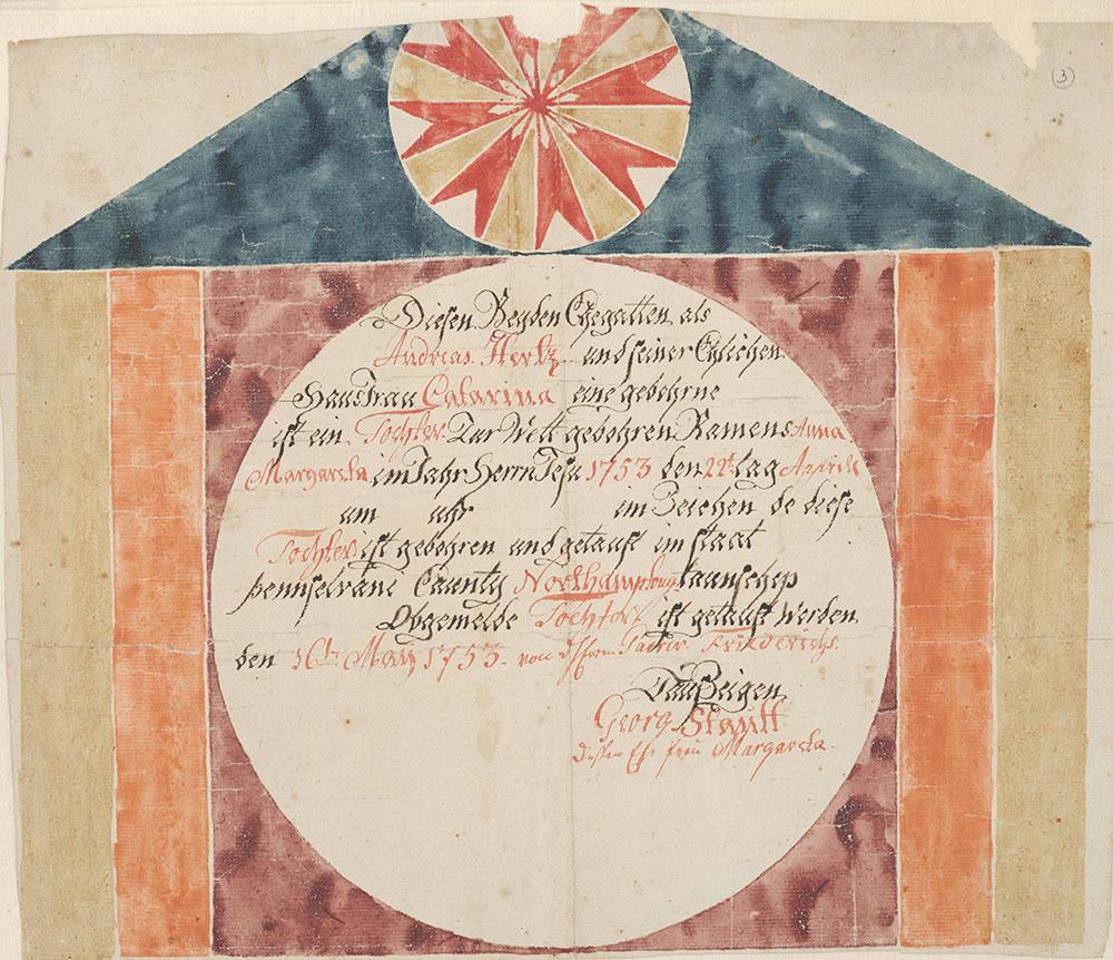 Birth and Baptismal Certificate (Geburts und Taufschein) for Anna Margareta Hertz