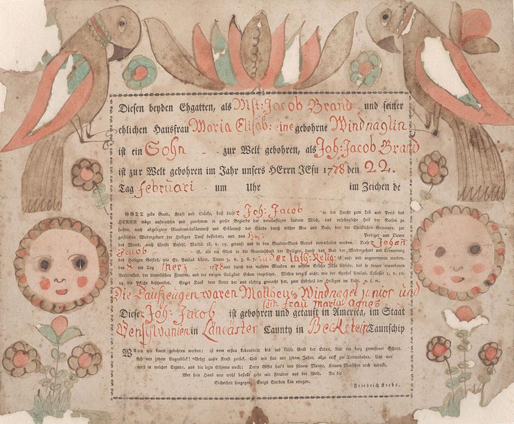 Birth and Baptismal Certificate (Geburts und Taufschein) for Johann Jacob Brand