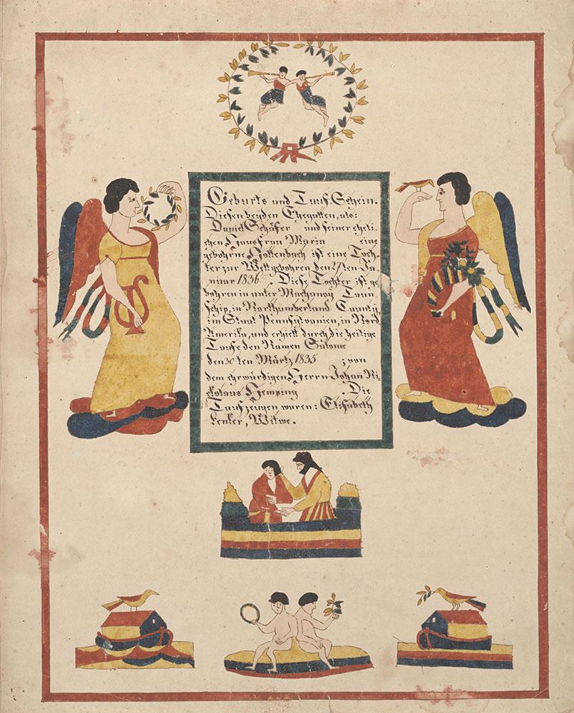 Birth and Baptismal Certificate (Geburts und Taufschein) for Salome Schäfer