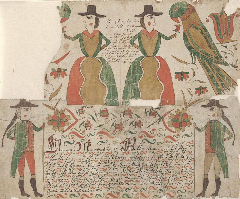 Birth and Baptismal Certificate (Geburts und Taufschein) for Anna Margräta Willeman
