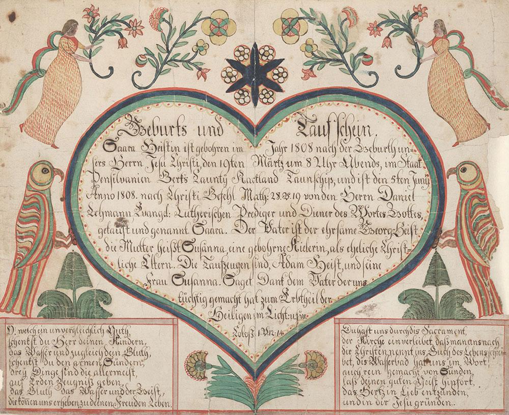 Birth and Baptismal Certificate (Geburts und Taufschein) for Saara Heist