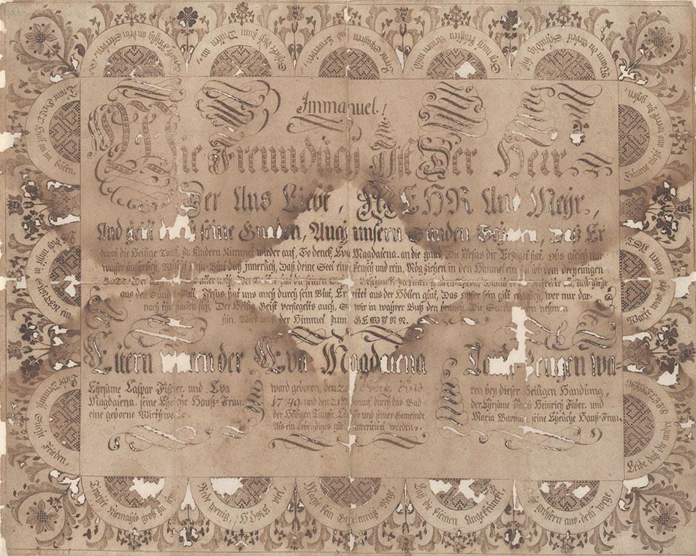Birth and Baptismal Certificate (Geburts und Taufschein) for Eva Magdalena Fischer
