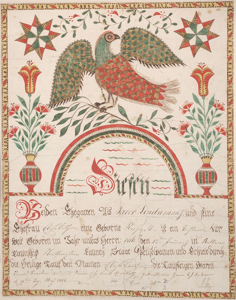 Birth and Baptismal Certificate (Geburts und Taufschein) for Elisabeth Lindaman