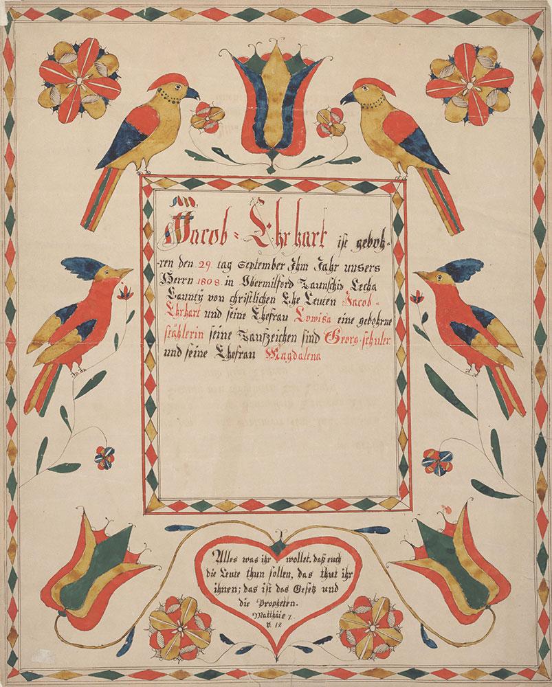 Birth and Baptismal Certificate (Geburts und Taufschein) for Jacob Ehrhart