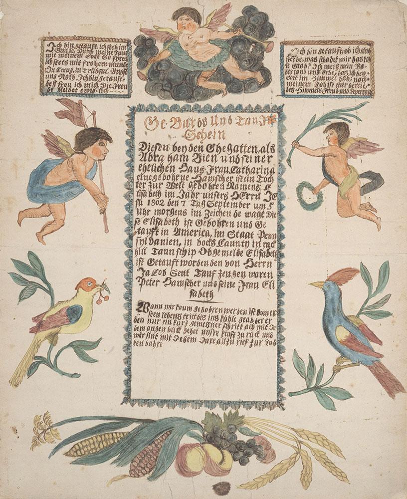 Birth and Baptismal Certificate (Geburts und Taufschein) for Elisabeth Bien
