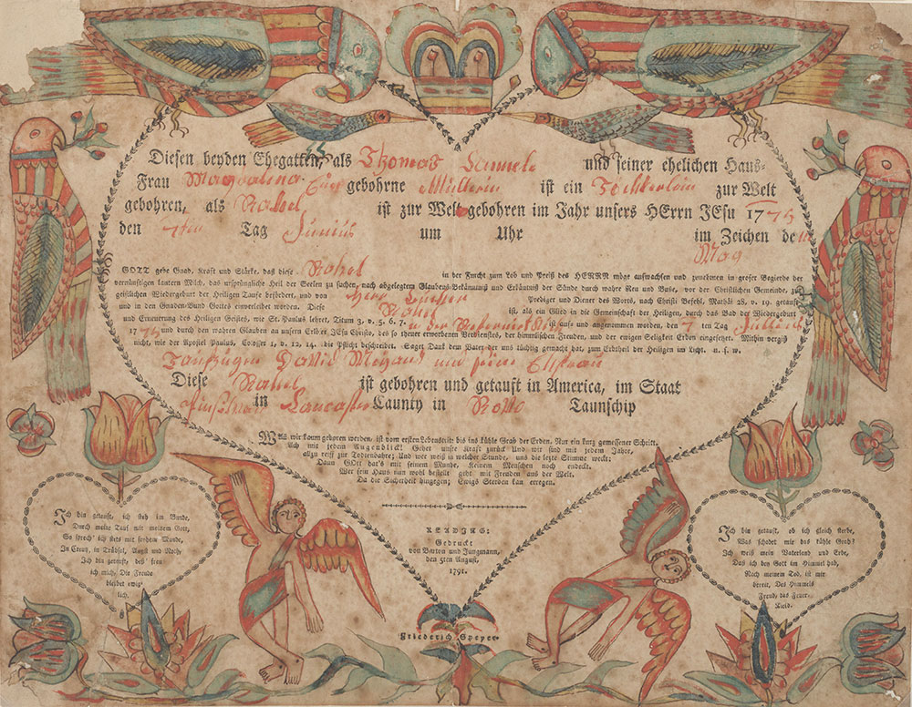 Birth and Baptismal Certificate (Geburts und Taufschein) for Rahel Kannele [Cannele]