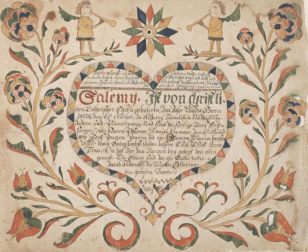 Birth and Baptismal Certificate (Geburts und Taufschein) for Salemy Fedterolff