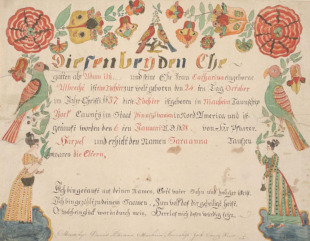 Birth and Baptismal Certificate (Geburts und Taufschein) for Saraana Utz