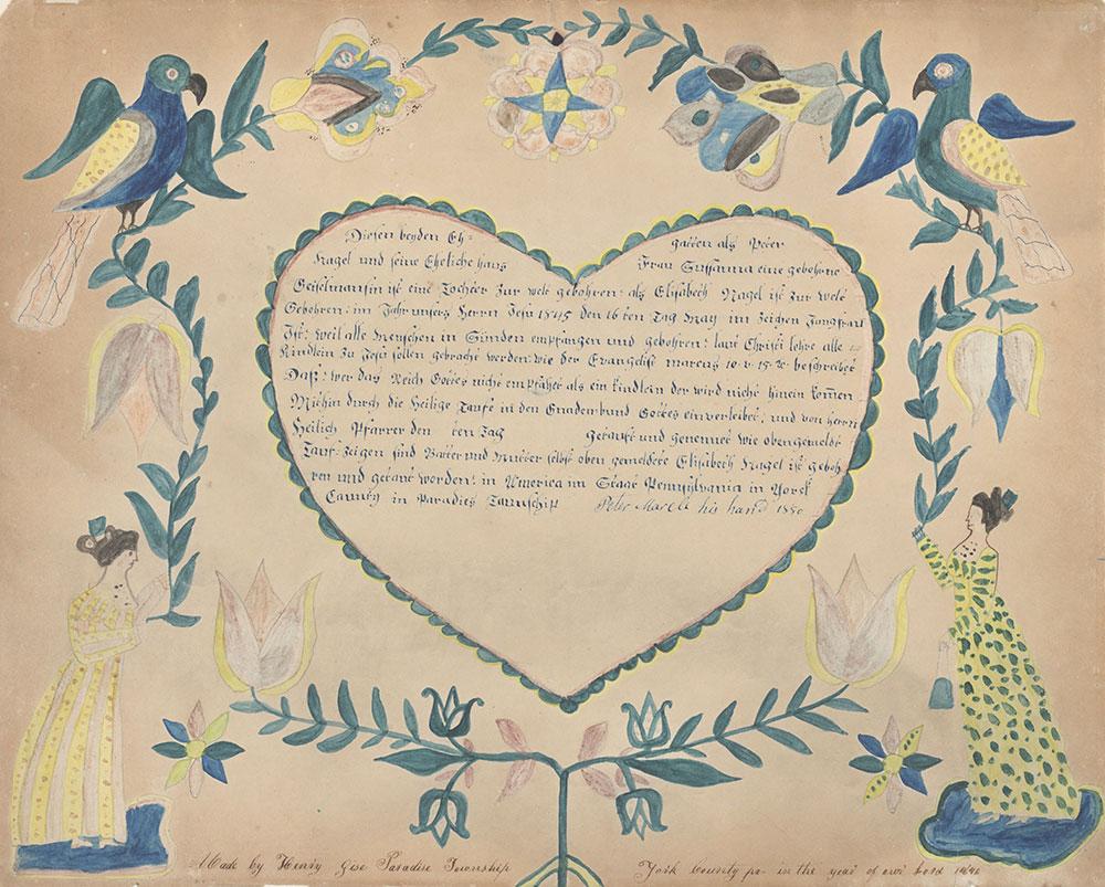 Birth and Baptismal Certificate (Geburts und Taufschein) for Elisabeth Nagel