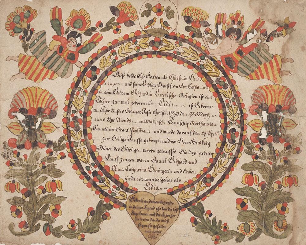 Birth and Baptismal Certificate (Geburts und Taufschein) for Ledia Heninger