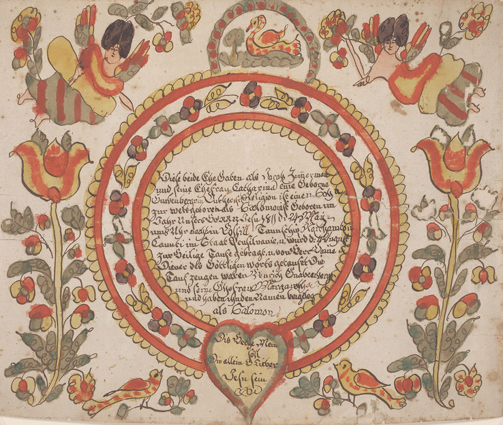 Birth and Baptismal Certificate (Geburts und Taufschein) for Salomon Zimmerman