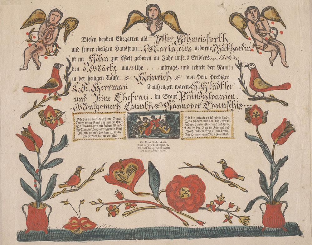 Birth and Baptismal Certificate (Geburts und Taufschein) for Heinrich Schweisforth
