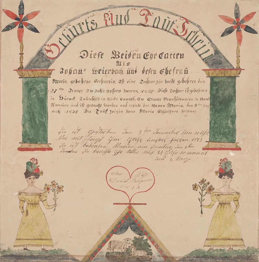 Birth and Baptismal Certificate (Geburts und Taufschein) for Maria Weierbach