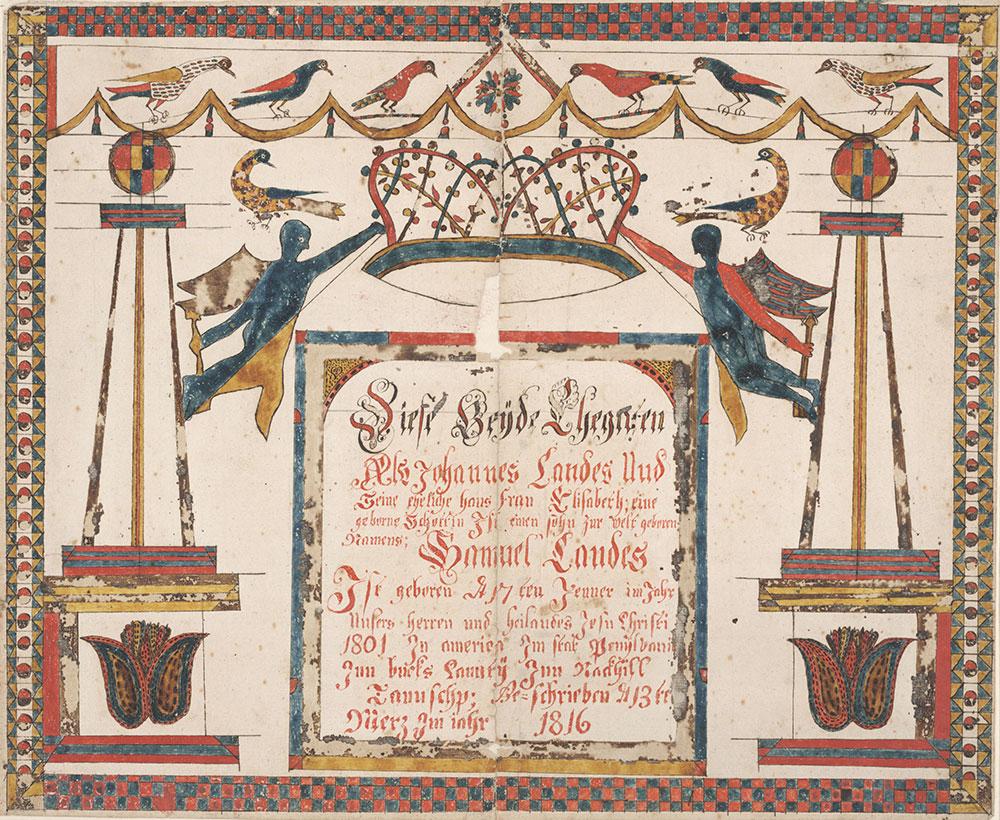Birth Certificate (Geburtsschein) for Samuel Landes