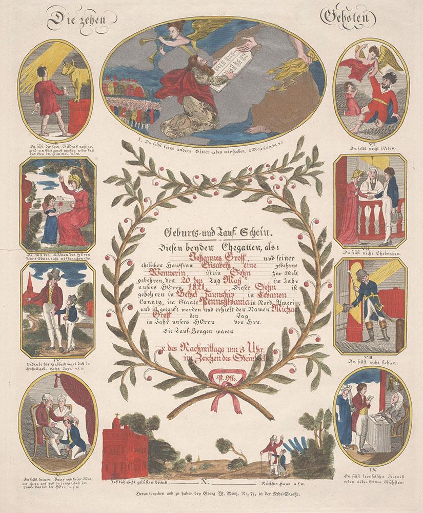 Birth and Baptismal Certificate (Geburts und Taufschein) for Michael Groff