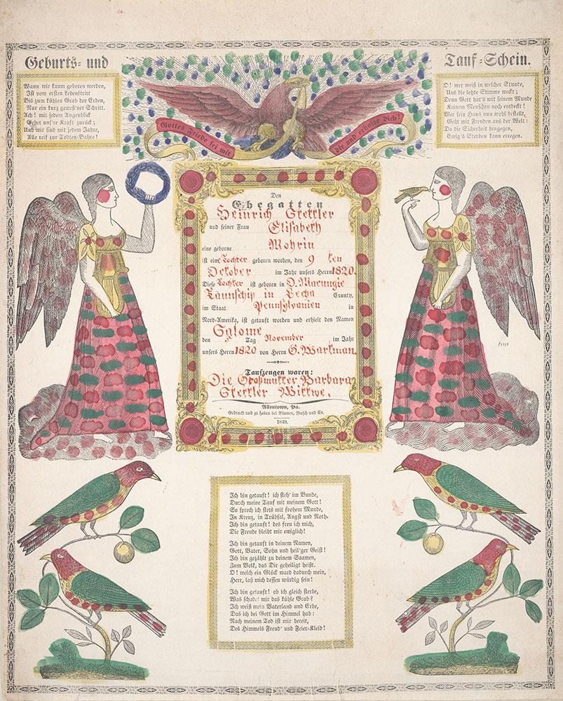Birth and Baptismal Certificate (Geburts und Taufschein) for Salome Stettler