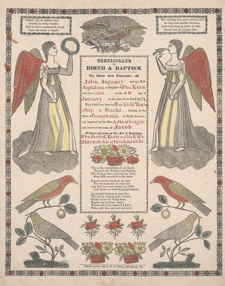 Birth and Baptismal Certificate (Geburts und Taufschein) for Jacob Angeney