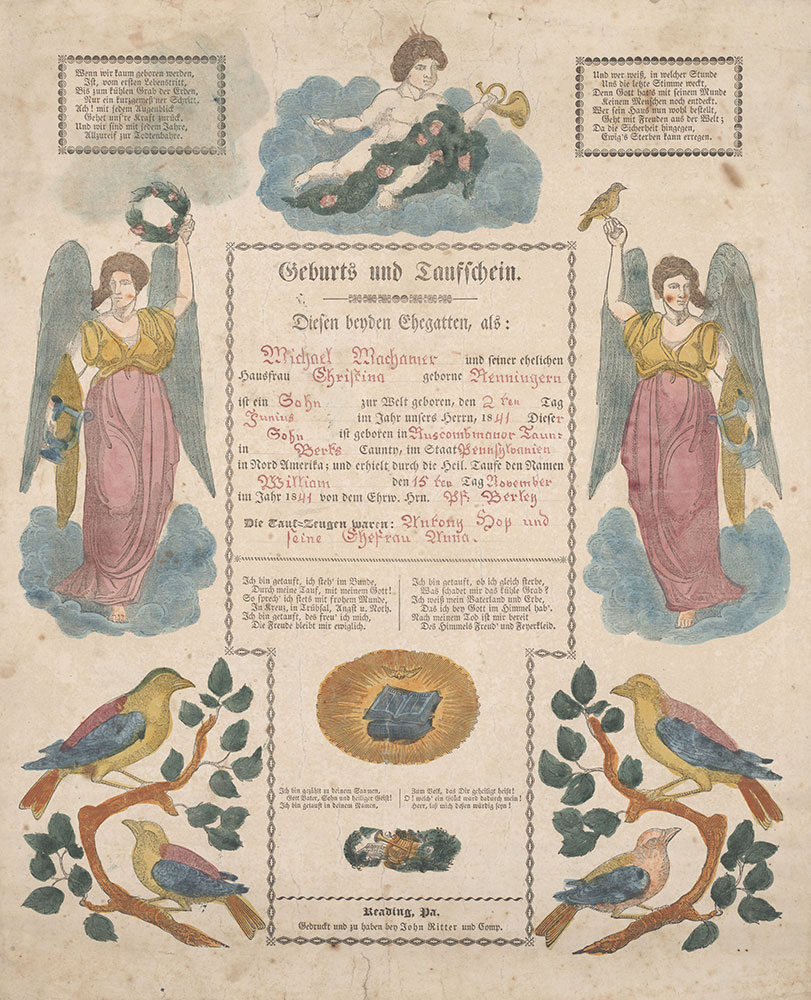 Birth and Baptismal Certificate (Geburts und Taufschein) for William Machamer