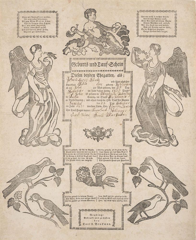 Birth and Baptismal Certificate (Geburts und Taufschein) for Samuel Kuntz