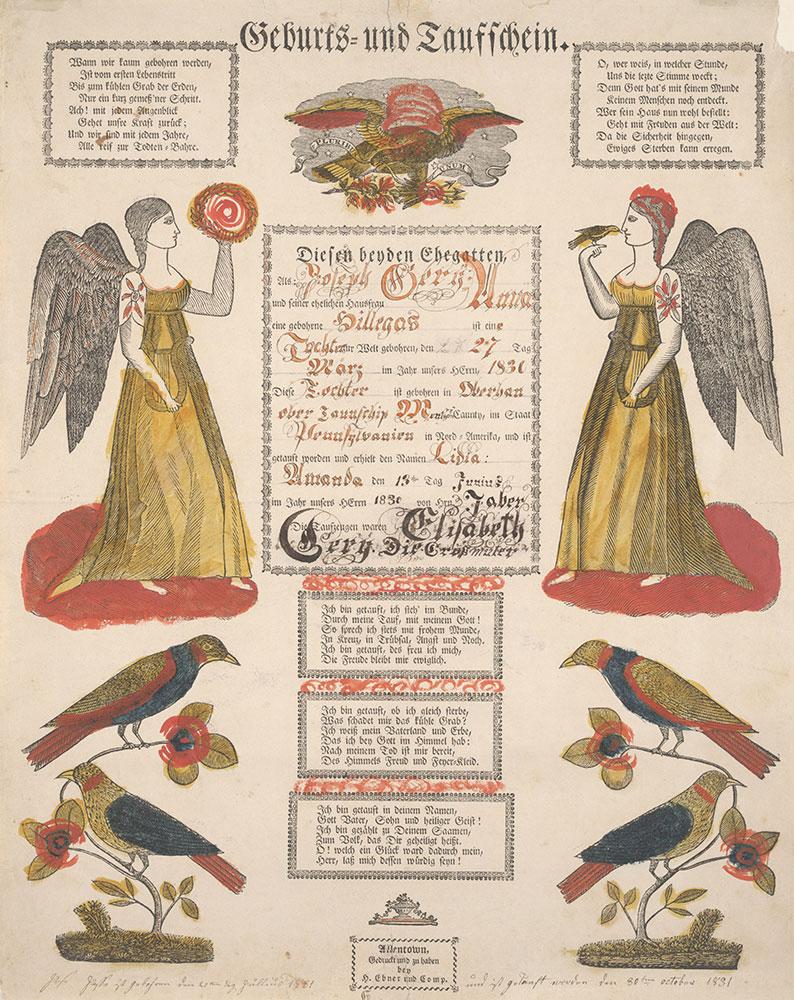 Birth and Baptismal Certificate (Geburts und Taufschein) for Lidia Amanda Gery