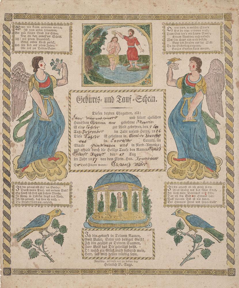 Birth and Baptismal Certificate (Geburts und Taufschein) for Elisabeth Wider