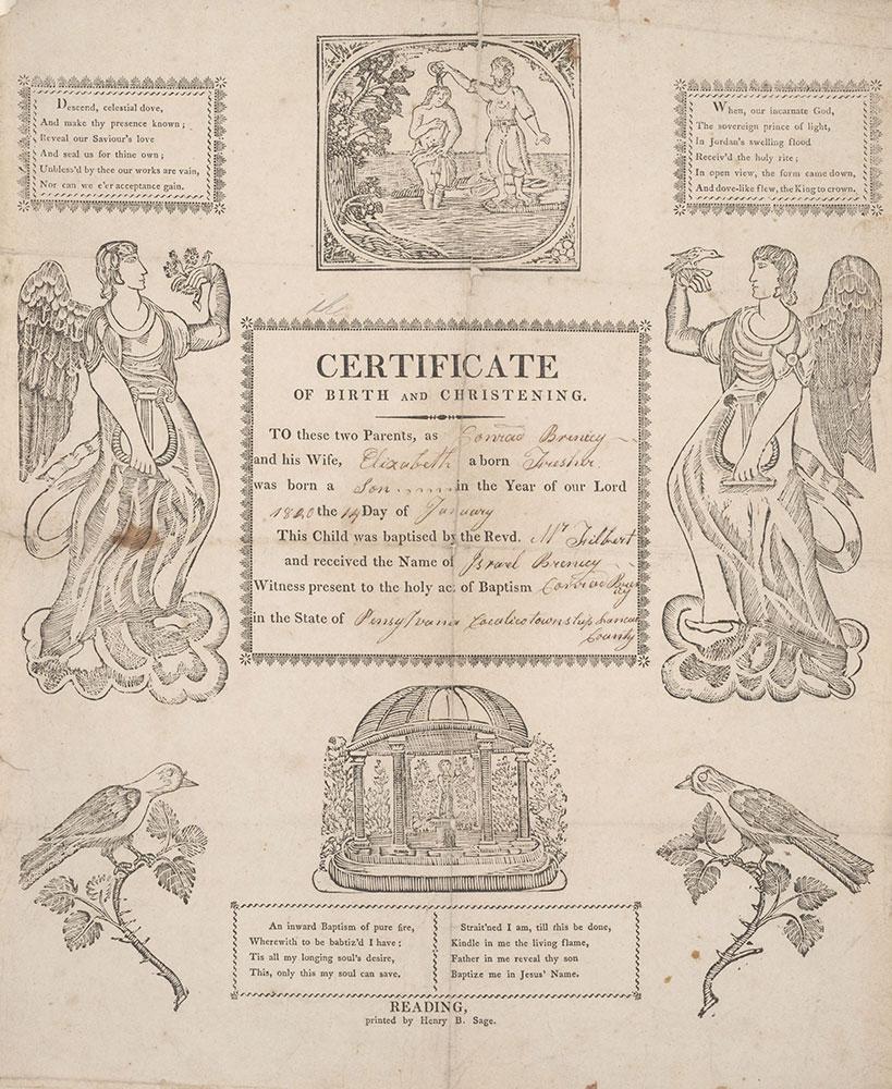 Birth and Baptismal Certificate (Geburts und Taufschein) for Israel Brenicy