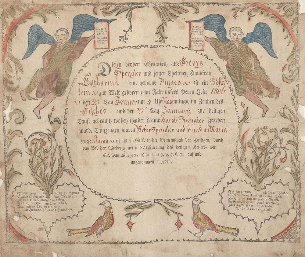 Birth and Baptismal Certificate (Geburts und Taufschein) for Jacob Spengler
