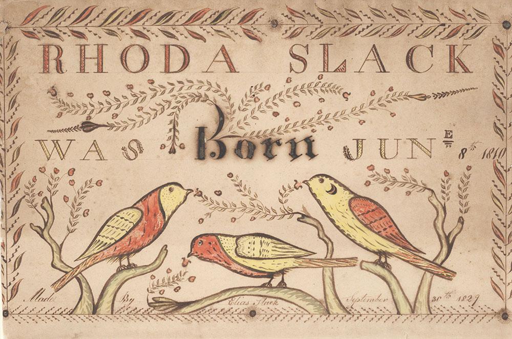 Birth Certificate (Geburtsschein) for Rhoda Slack