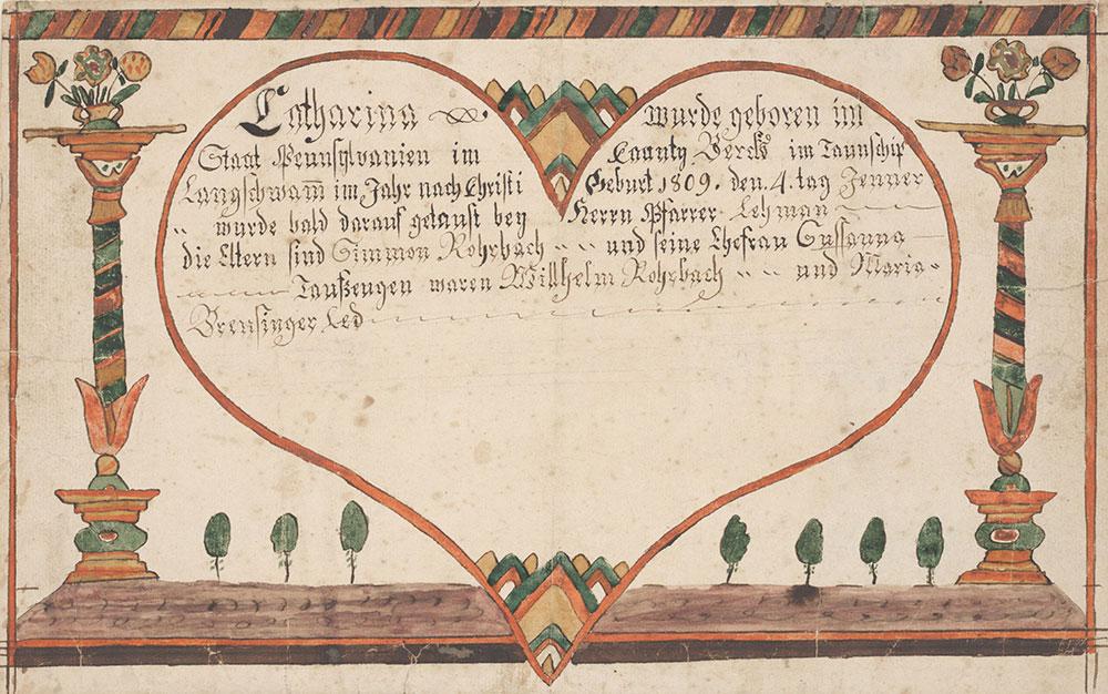 Birth and Baptismal Certificate (Geburts und Taufschein) for Catharina Rohrbach