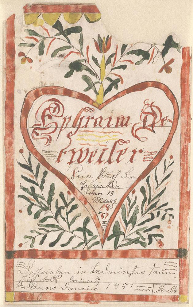 Bookplate (Bücherzeichen) for Ephraim Detweiler
