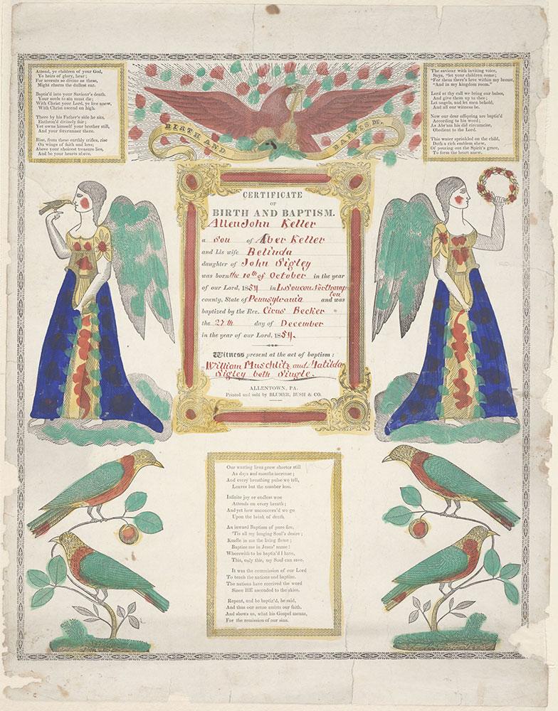 Birth and Baptismal Certificate (Geburts und Taufschein) for Allen John Keller