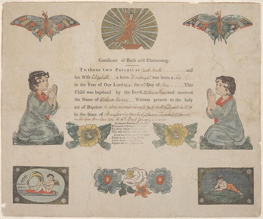 Birth and Baptismal Certificate (Geburts und Taufschein) for William Henry Smith