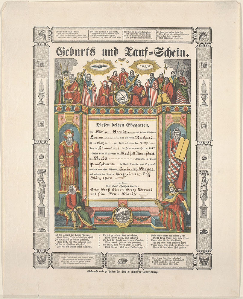Birth and Baptismal Certificate (Geburts und Taufschein) for Georg Berndt