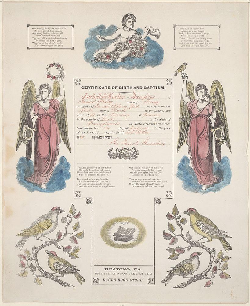Birth and Baptismal Certificate (Geburts und Taufschein) for Isabella Y. Keeler