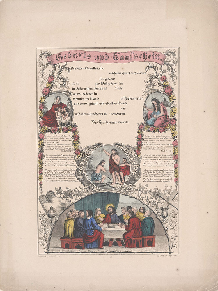 Birth and Baptismal Certificate (Geburts und Taufschein) for [blank]