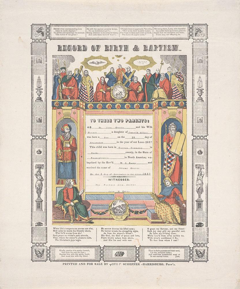 Birth and Baptismal Certificate (Geburts und Taufschein) for Jerome Gruver