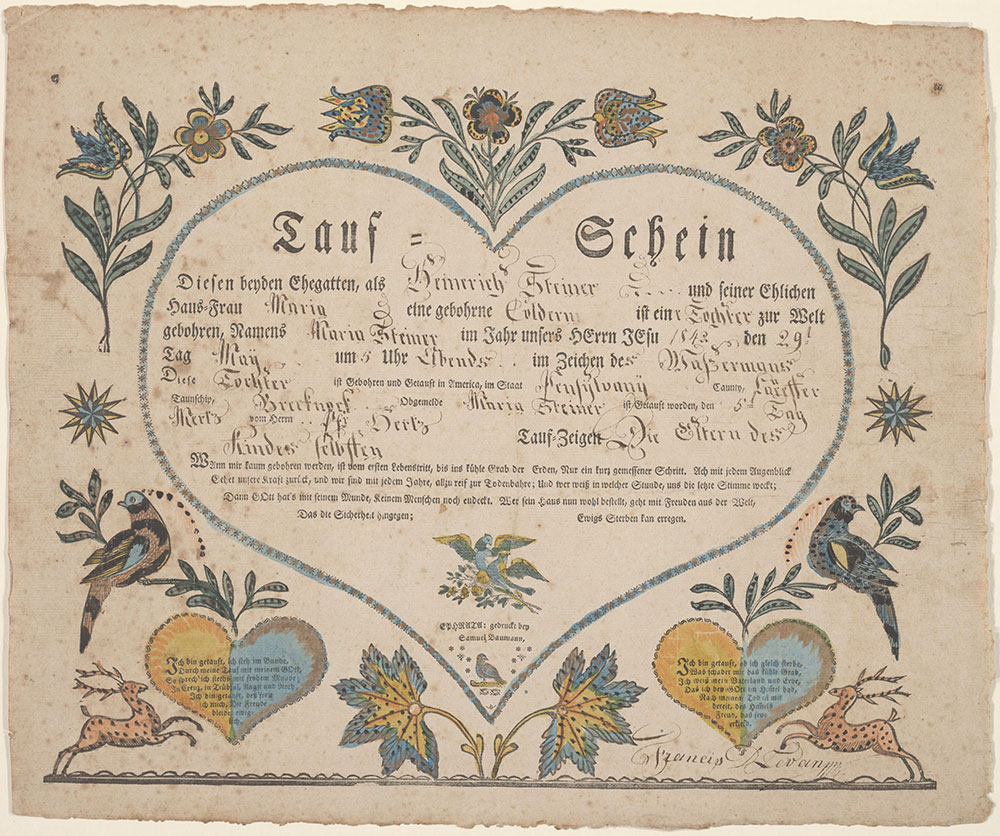 Birth and Baptismal Certificate (Geburts und Taufschein) for Maria Steiner