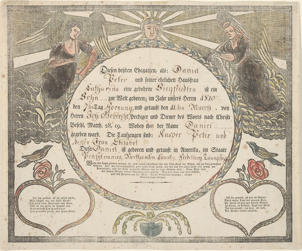 Birth and Baptismal Certificate (Geburts und Taufschein) for Daniel Peter