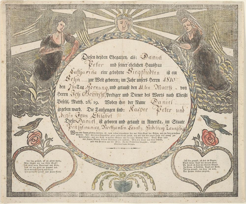 Birth And Baptismal Certificate Geburts Und Taufschein For Daniel