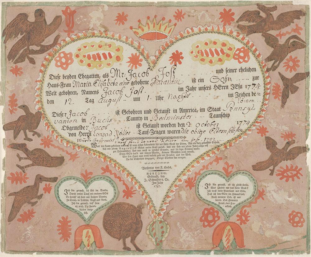 Birth, Baptismal and Confirmation Certificate (Geburts, Tauf, und Konfirmationsschein) for Jacob Jost