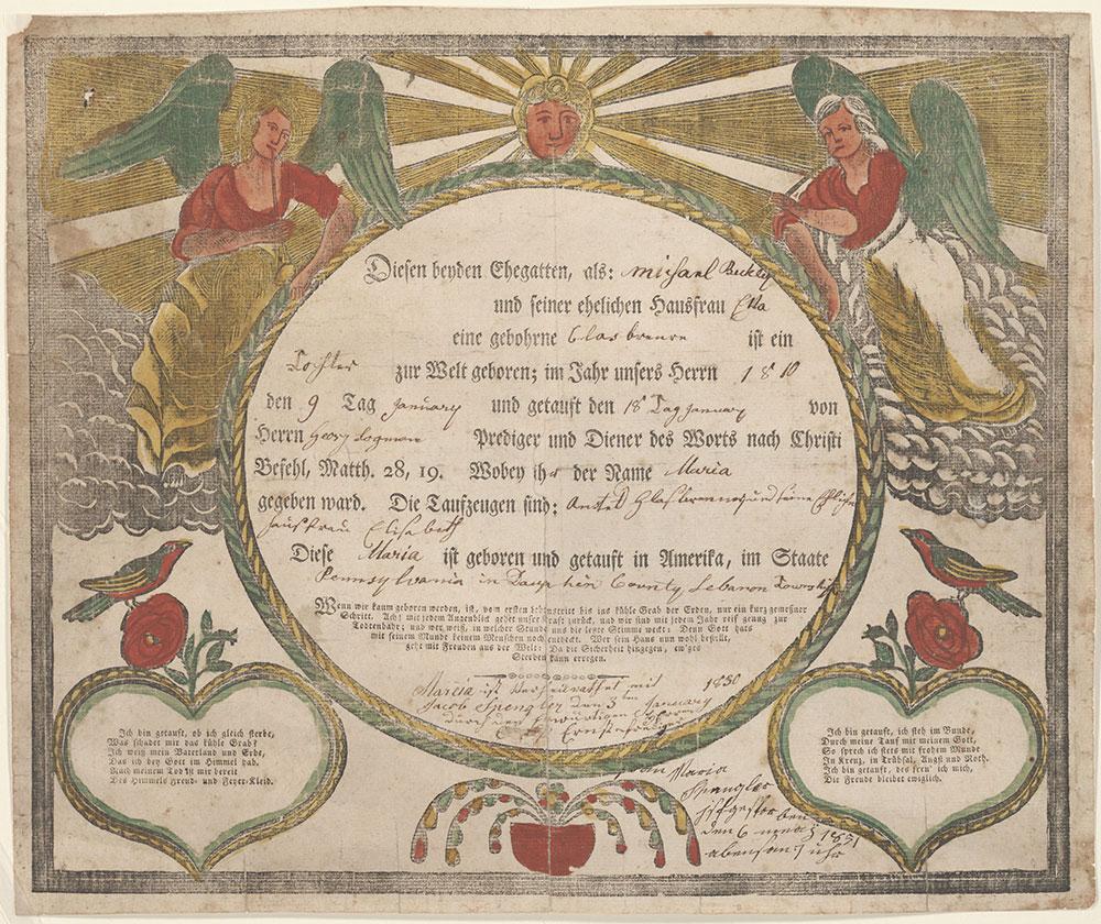 Birth and Baptismal Certificate (Geburts und Taufschein) for Maria Beckley