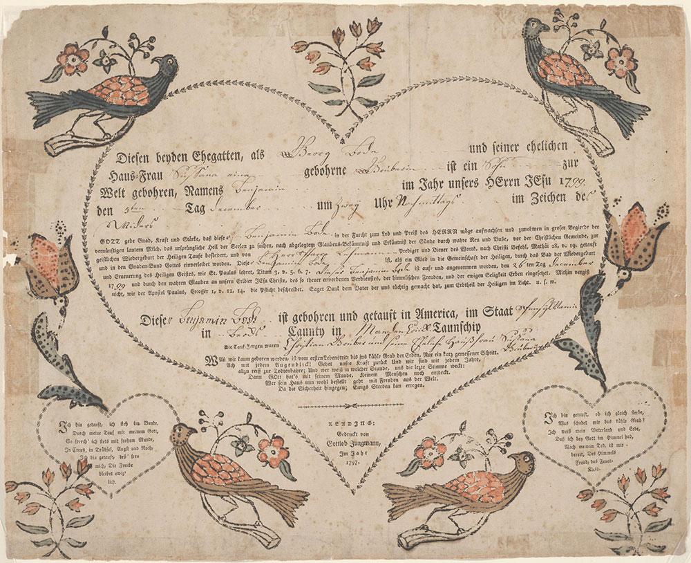 Birth and Baptismal Certificate (Geburts und Taufschein) for Benjamin Bode