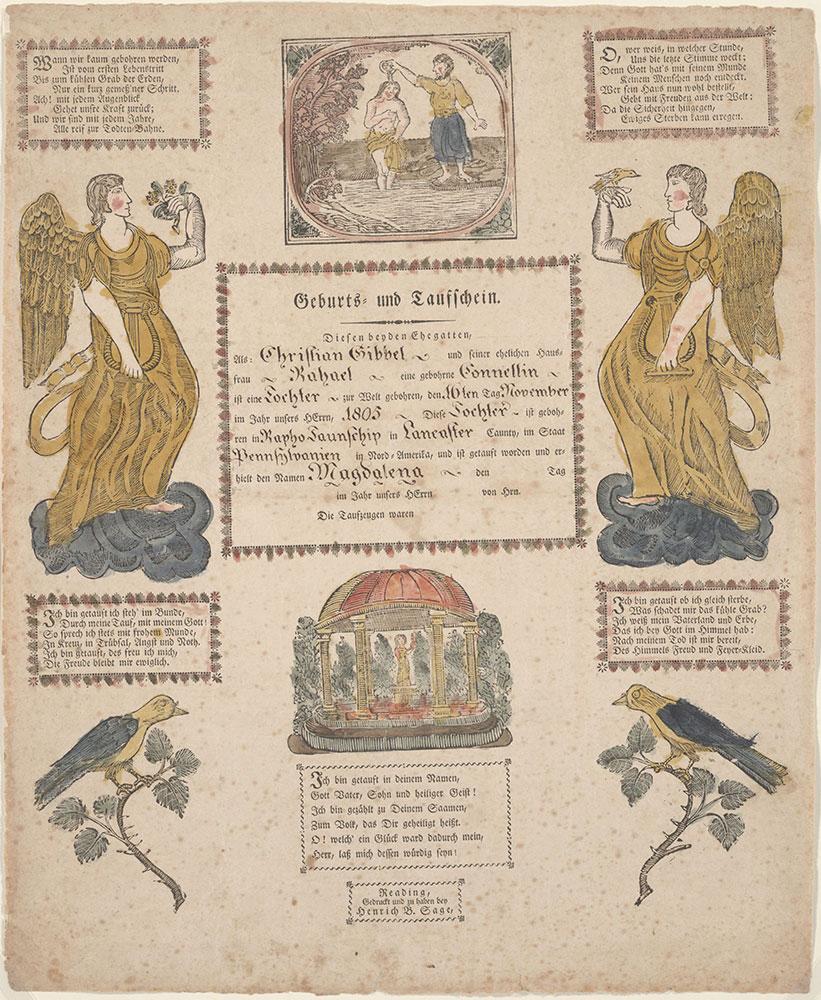 Birth and Baptismal Certificate (Geburts und Taufschein) for Magdalena Gibbel
