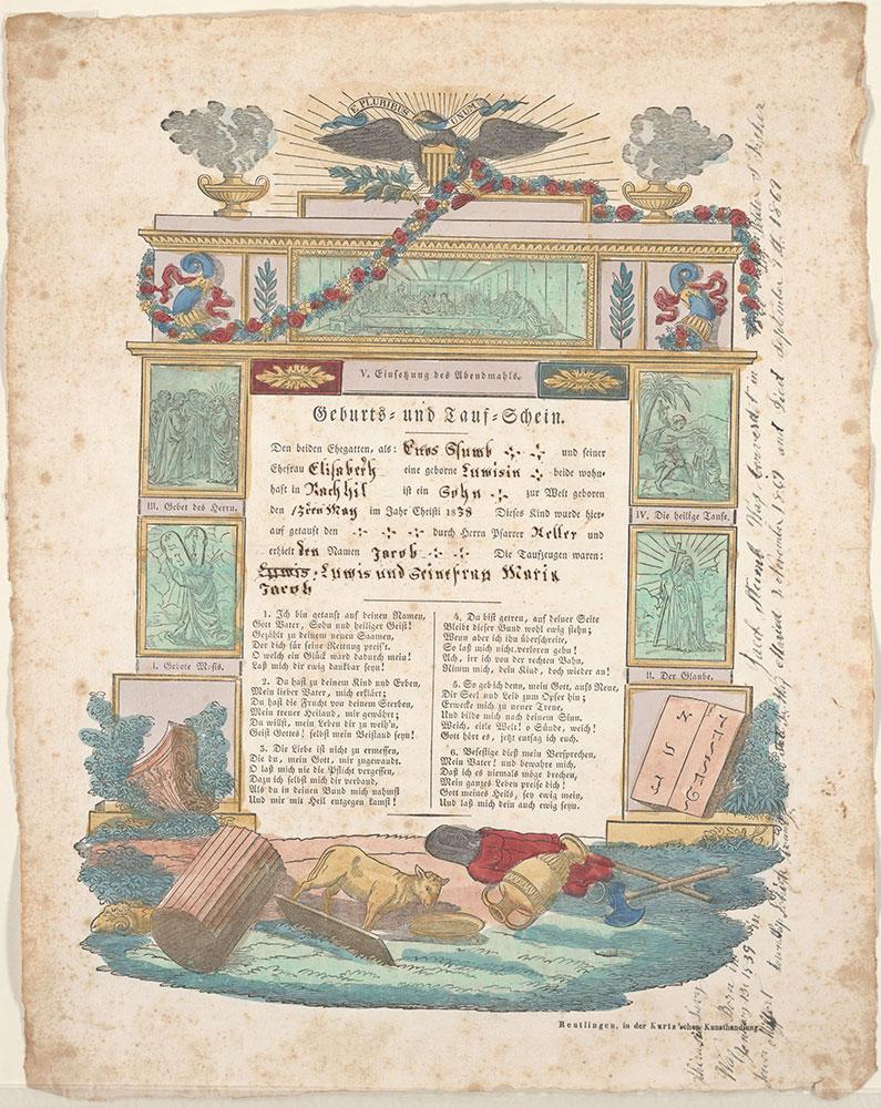 Birth and Baptismal Certificate (Geburts und Taufschein) for Jacob Stumb