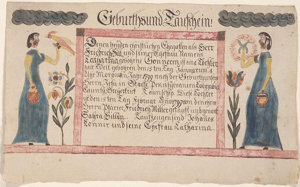 Birth and Baptismal Certificate (Geburts und Taufschein) for Sahra Hill