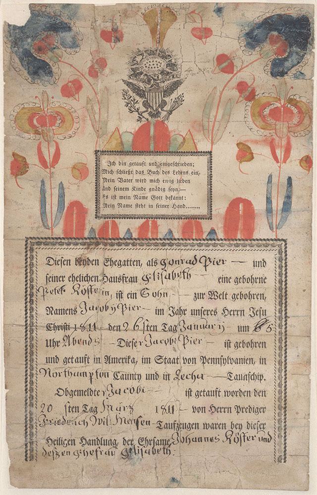 Birth and Baptismal Certificate (Geburts und Taufschein) for Jacobi Pier
