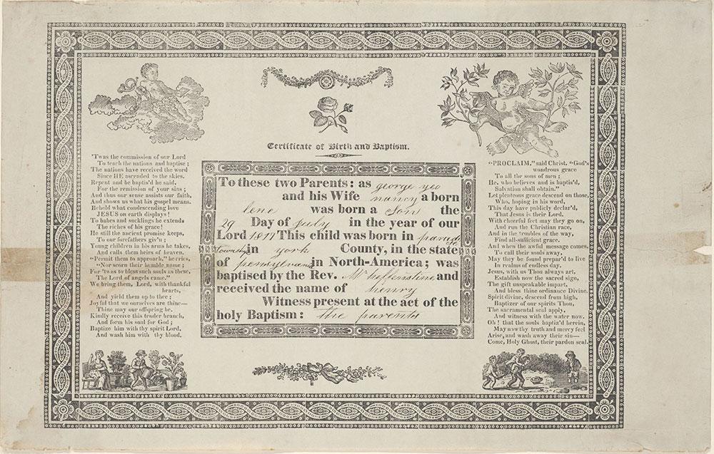 Birth and Baptismal Certificate (Geburts und Taufschein) for Henry Yeo